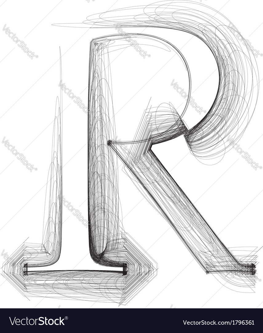 Sketch Font Letter R Royalty Free Vector Image