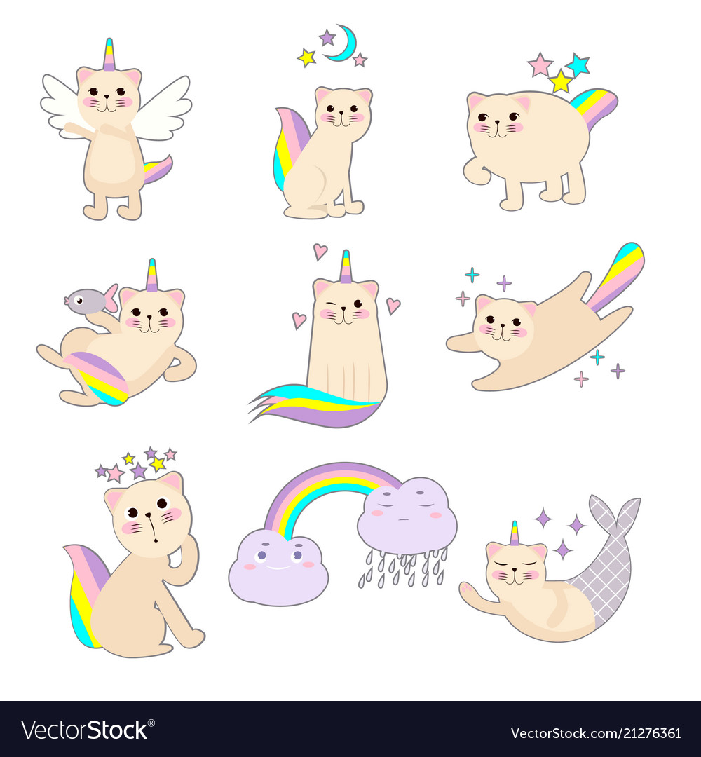 Small angelic kitten with a rainbow vector image