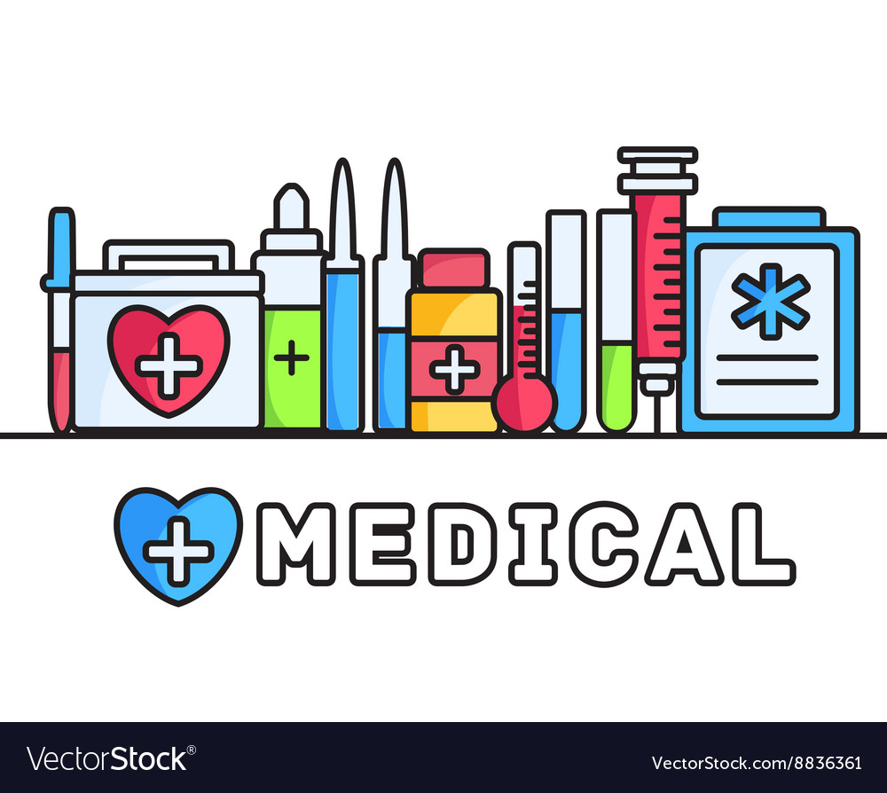 Thin lines style medical equipment set icons