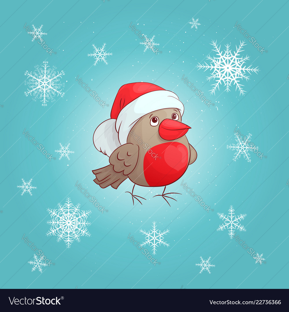 A cute cartoon bullfinch new year s and