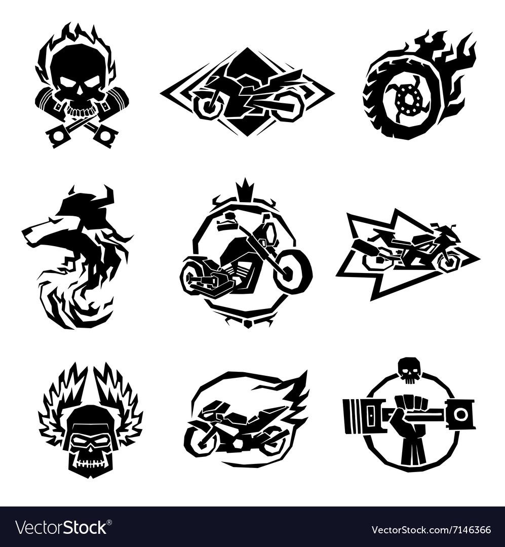 Bikers badges emblems icons