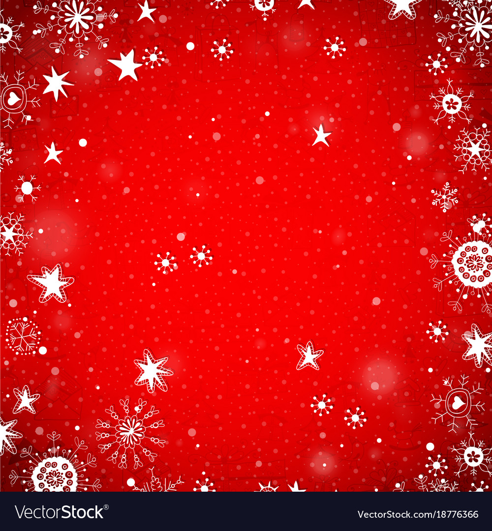 Christmas Snowflake Snow Stars Red Background