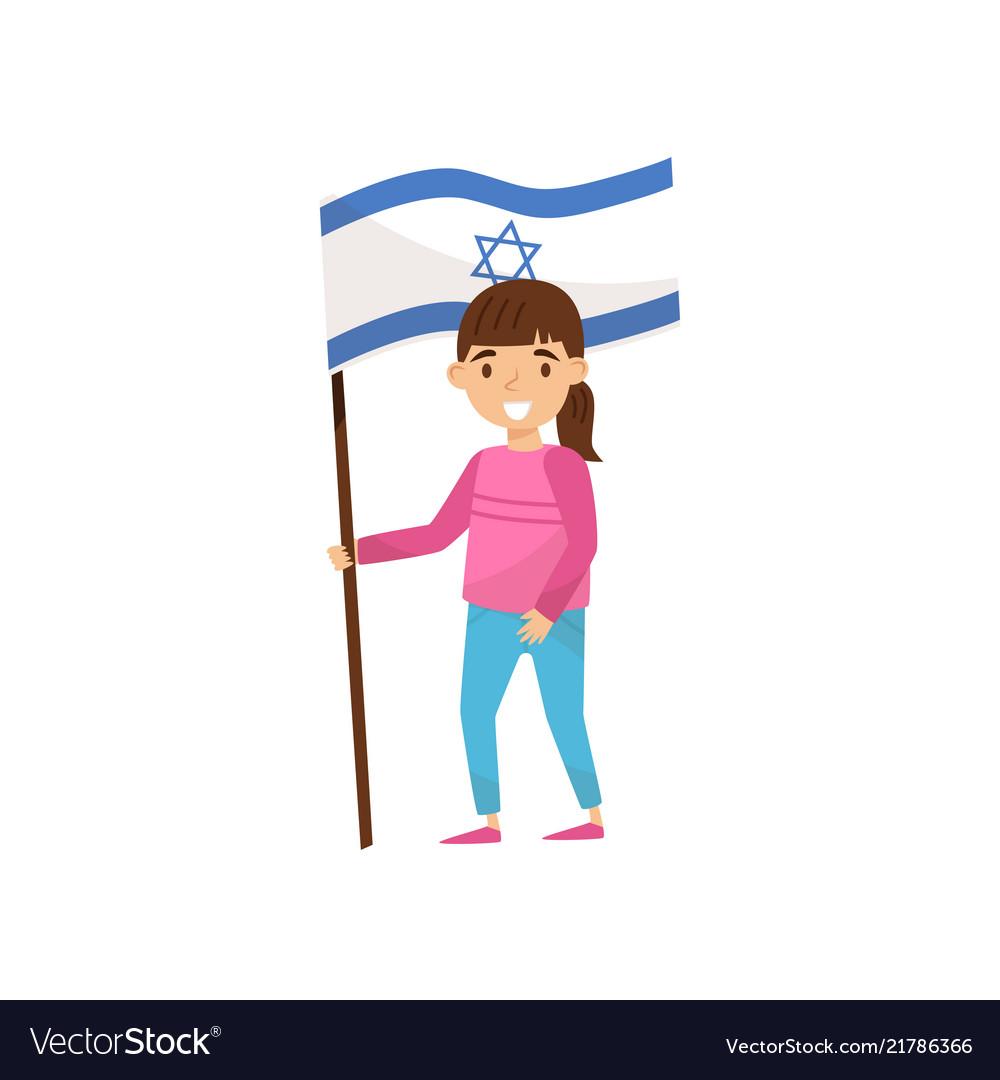 Girl holding national flag of israel design