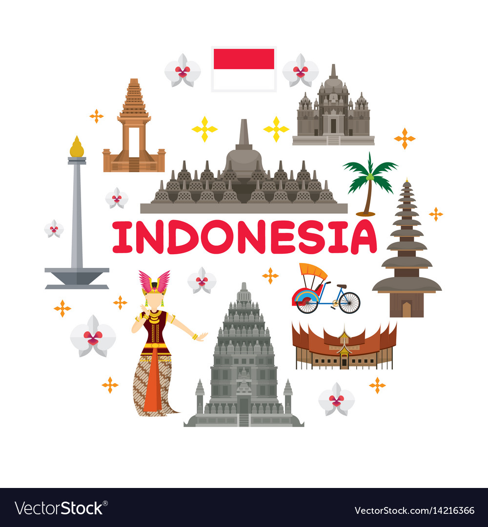 Indonesia travel attraction label vector image