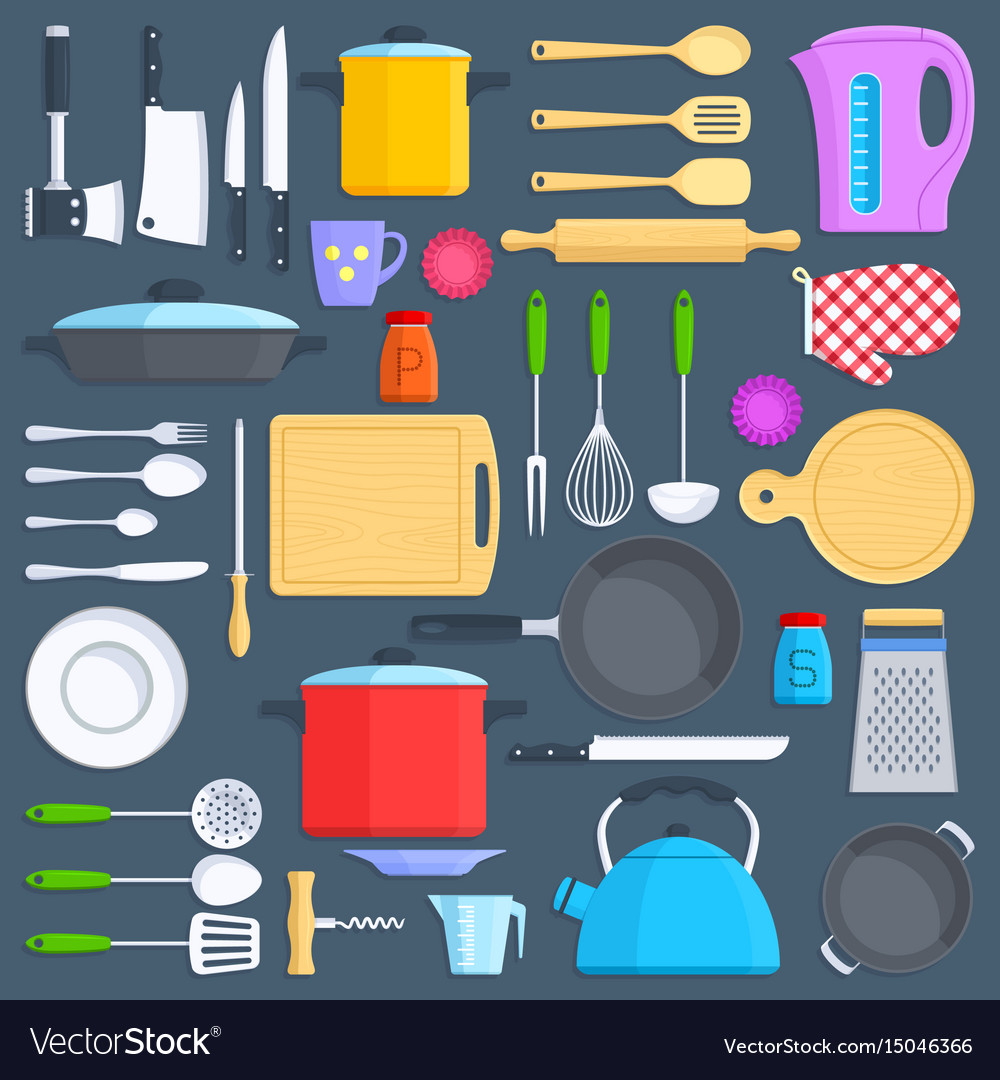 Kitchen tools cookware and kitchenware flat icons