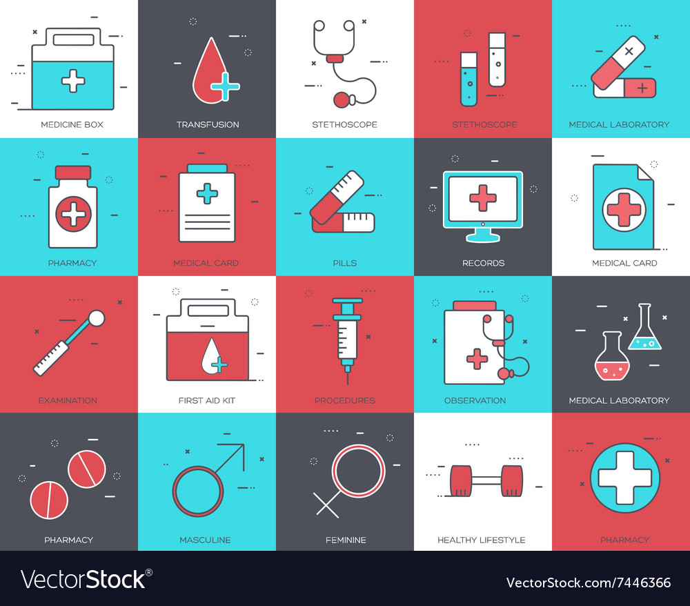 Line icons set of medical collection concept vector image