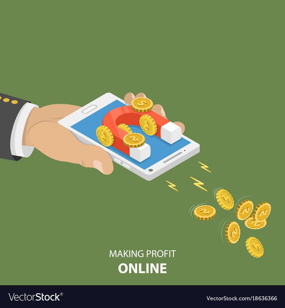 Making money online flat isometric concept