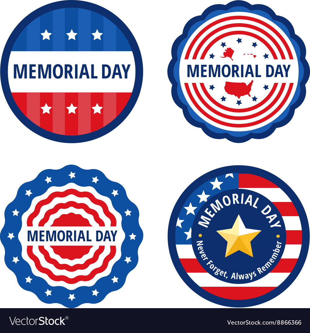 Memorial day color labels set