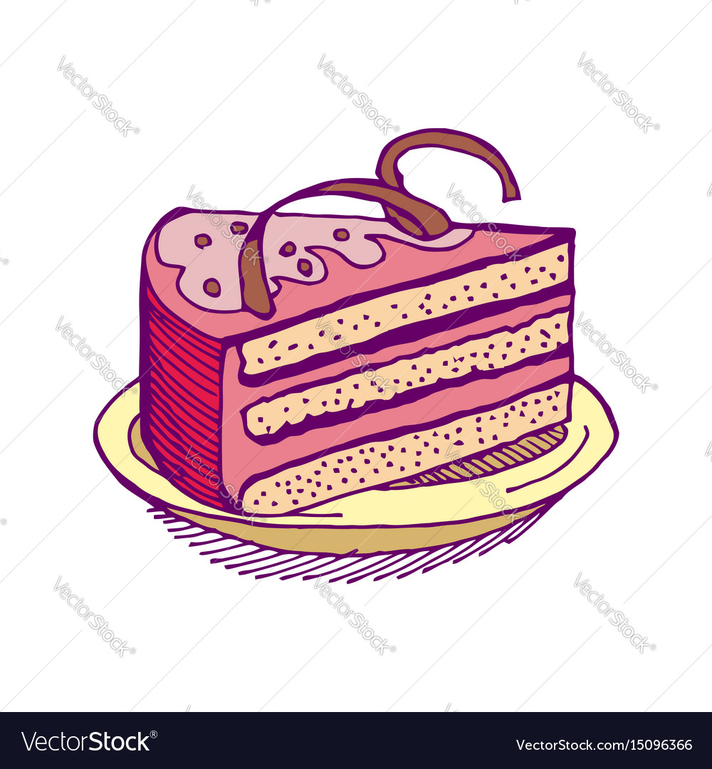 Piece of cake on plate pie isolated dessert on