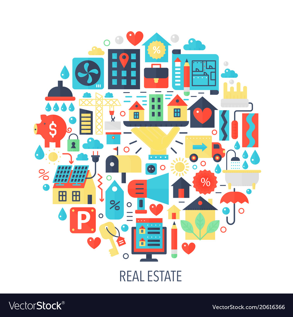 Real estate flat infographics icons in circle