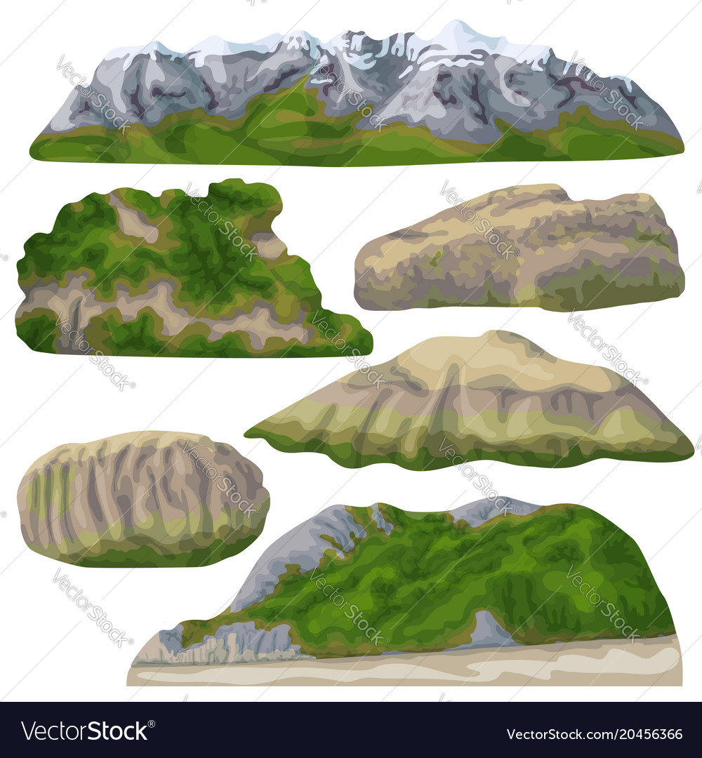 Rocks and mountains isolated on white vector image