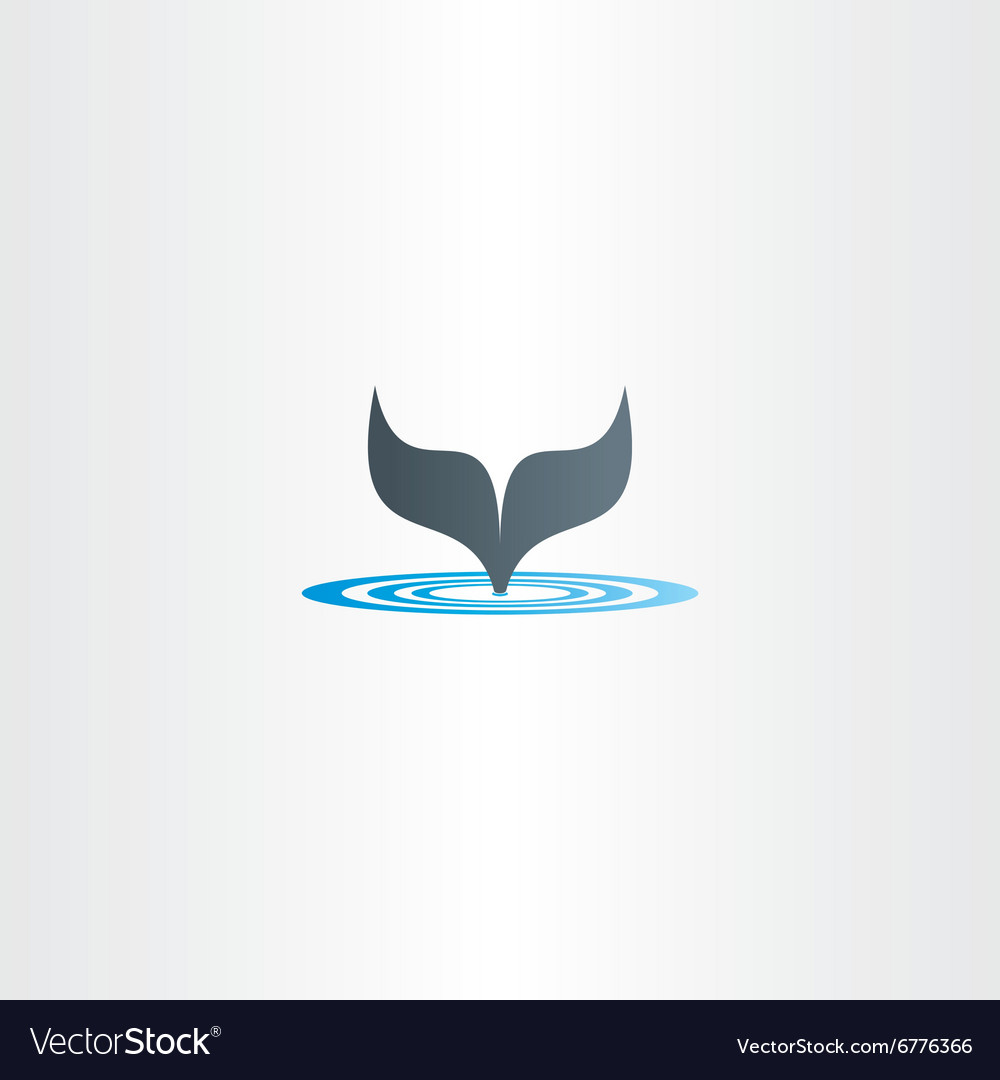 Water wave and whale fish tail logo