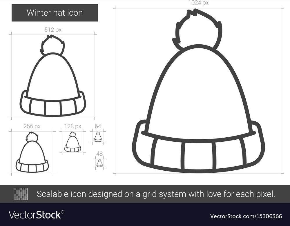 Winter hat line icon