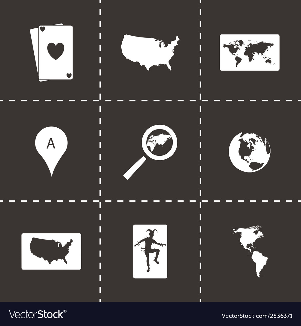 Black map icons set
