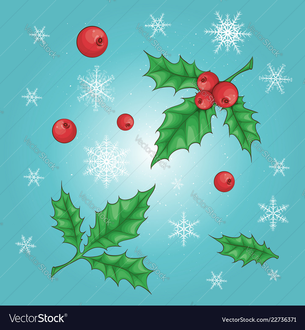 Christmas and new year holly berry icon collection