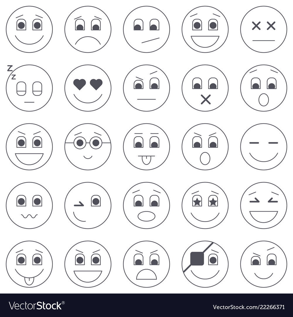 Collection of emoticon icons abstract emoji