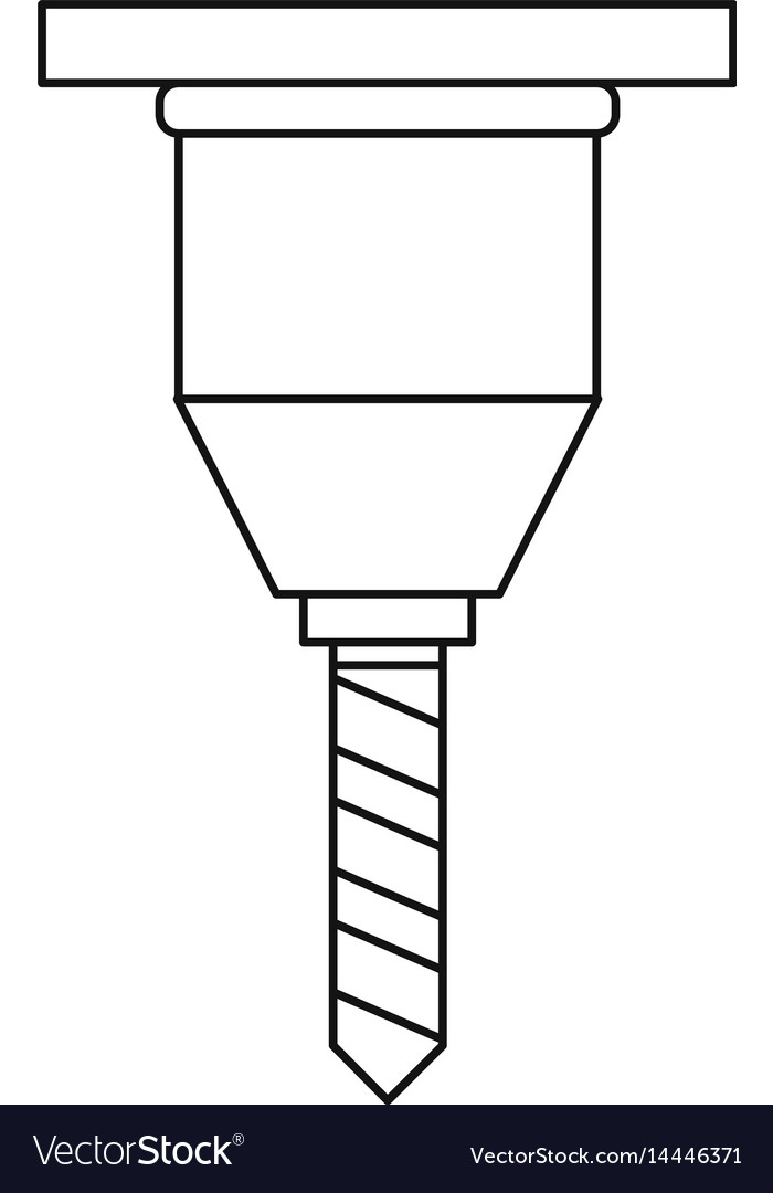 Drill bit icon outline style vector image