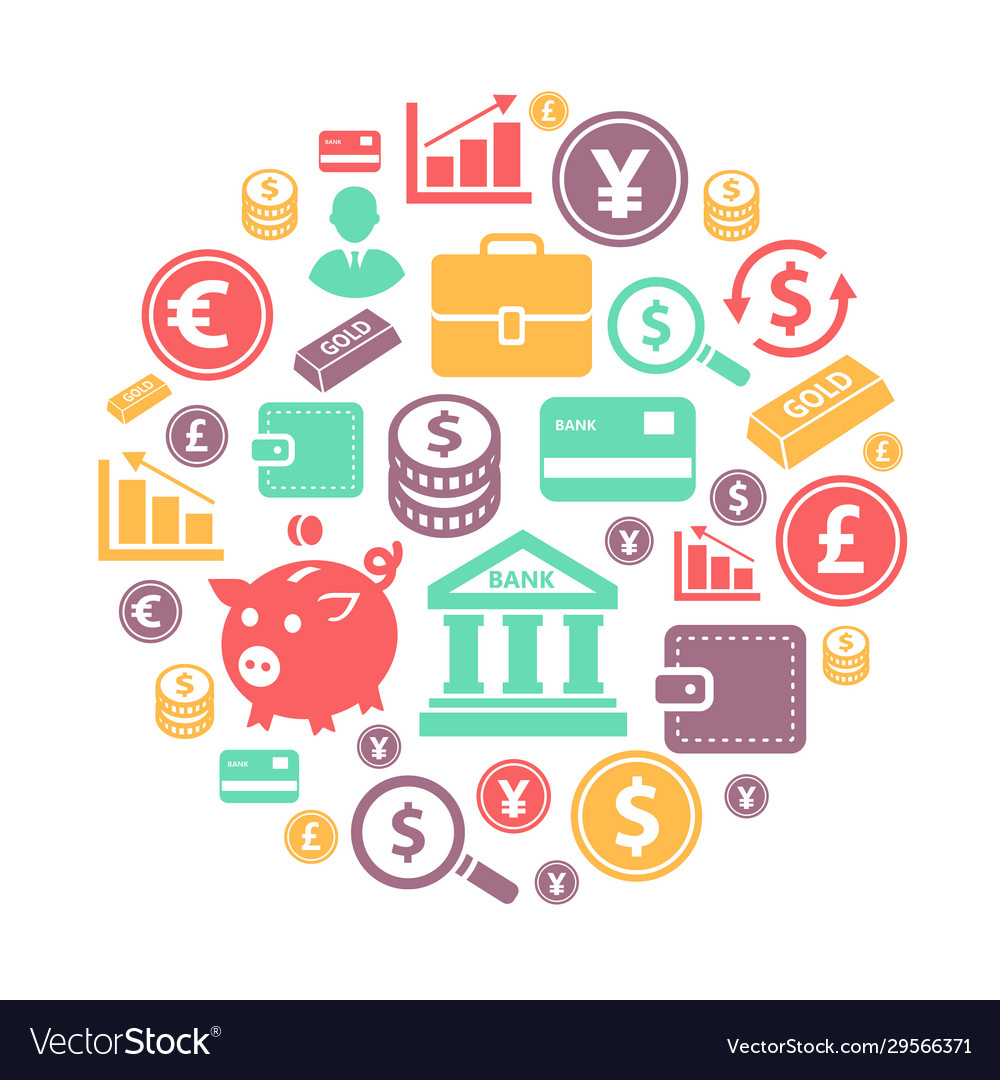 Finance and bank icons on circle background