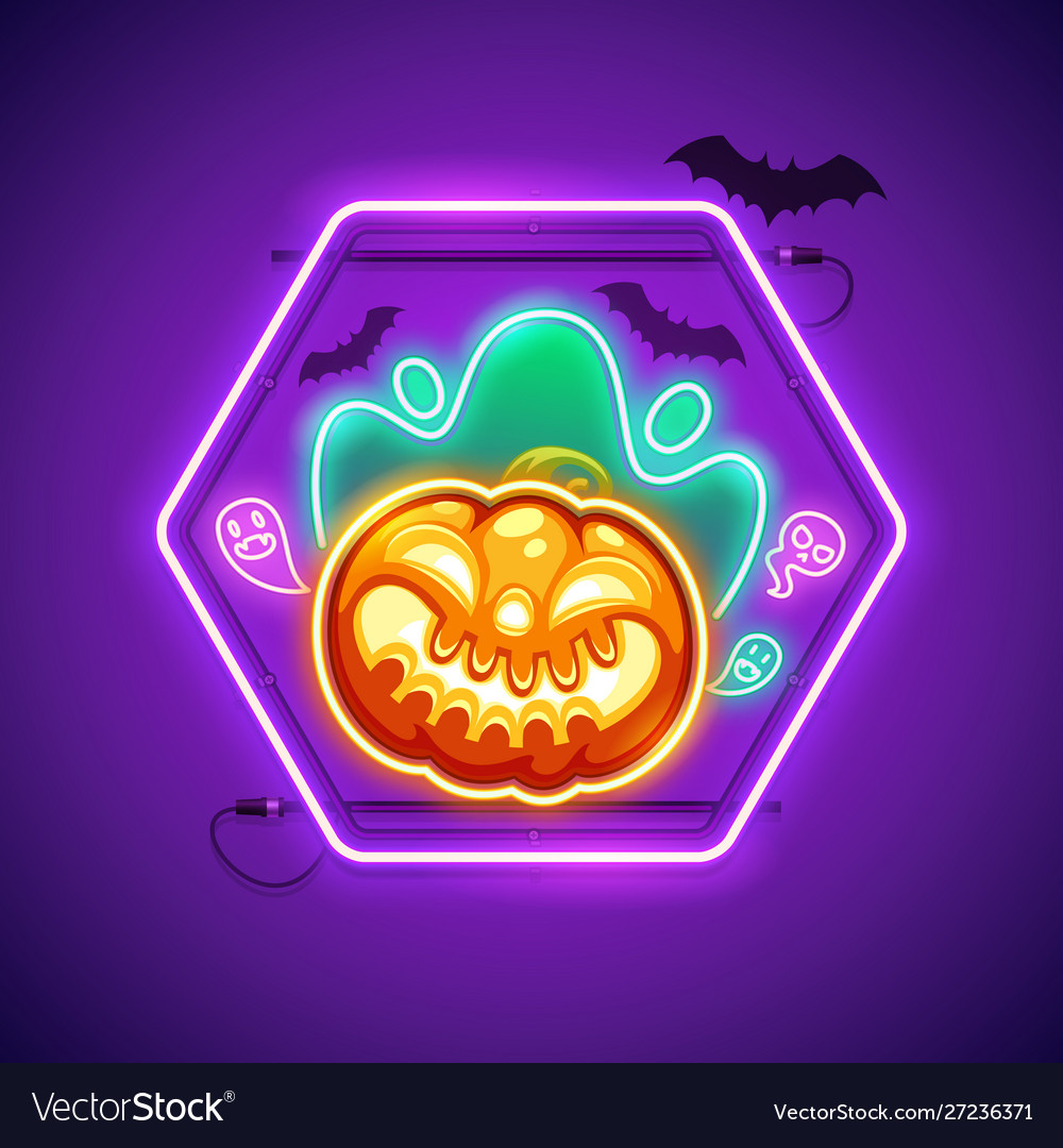 Halloween neon sign with creepy pumpkin