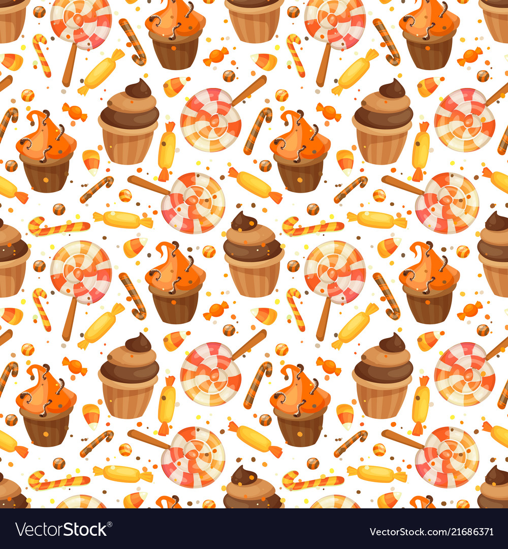 Happy halloween sweet seamless pattern trick or