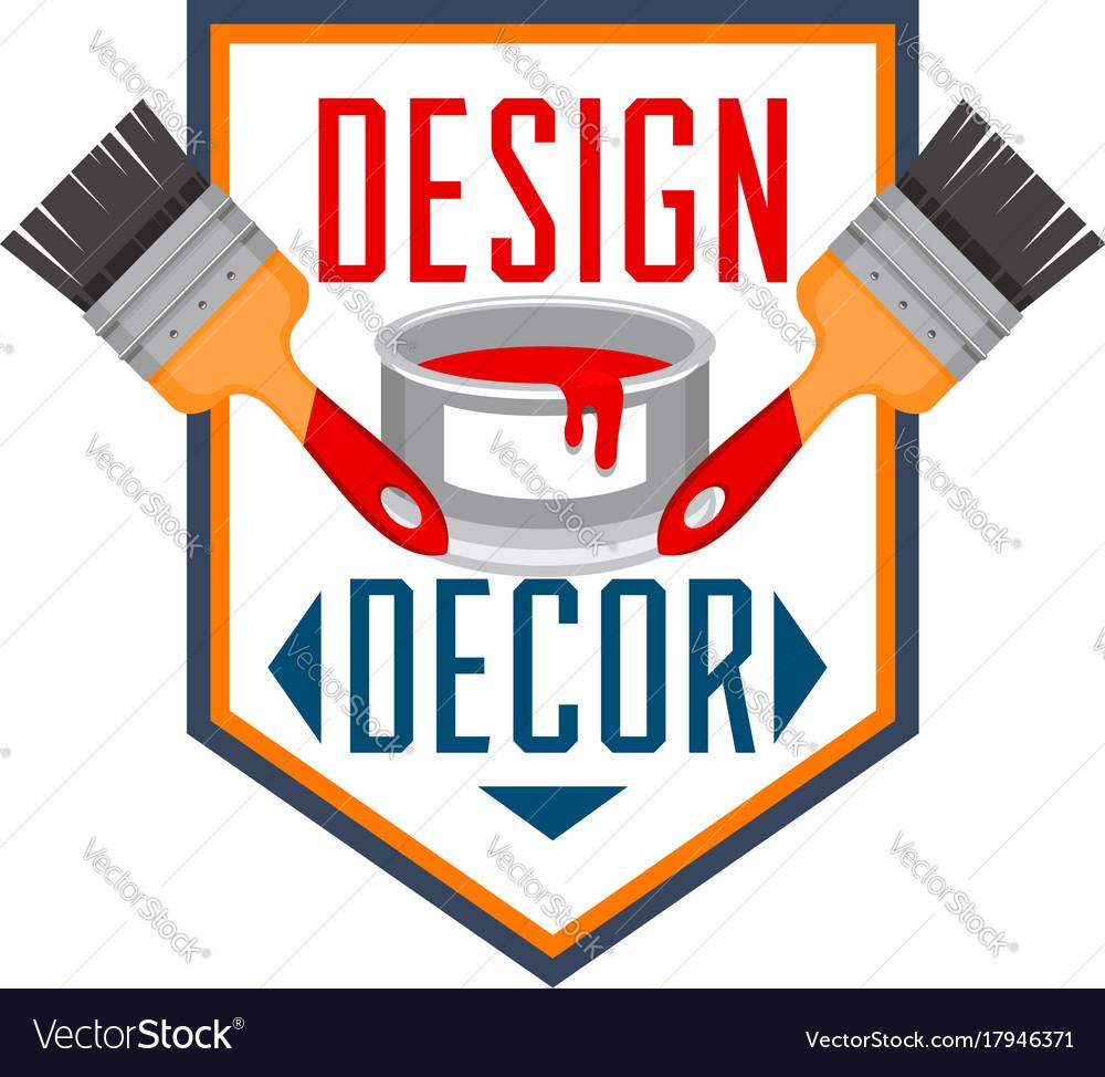 Home decor paint brush interior design icon
