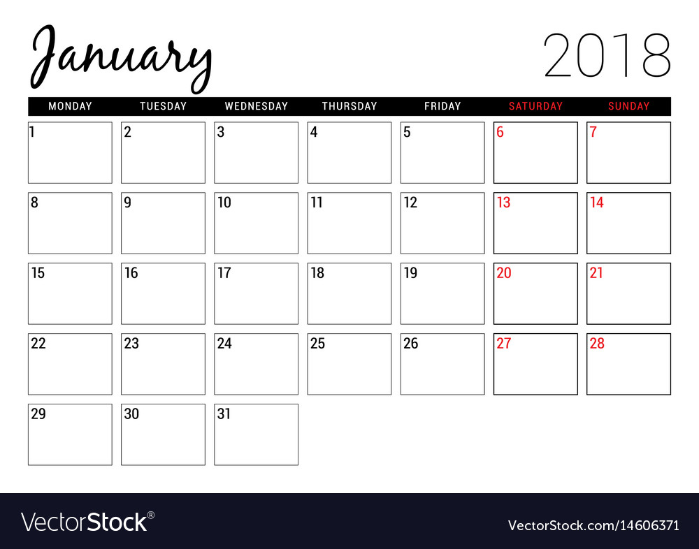 January 2018 Printable Calendar Planner Design Vector Image