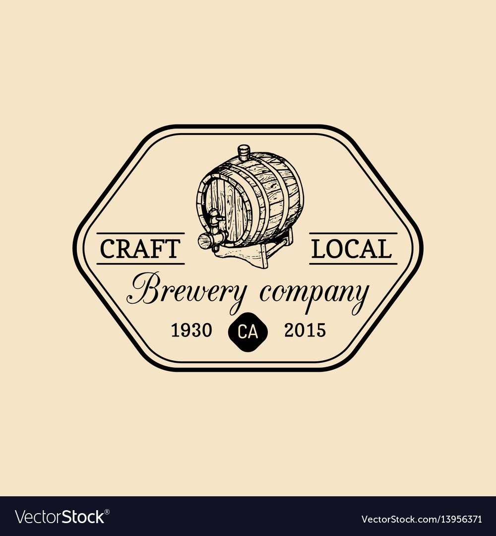 Kraft beer barrel logo old brewery icon lager