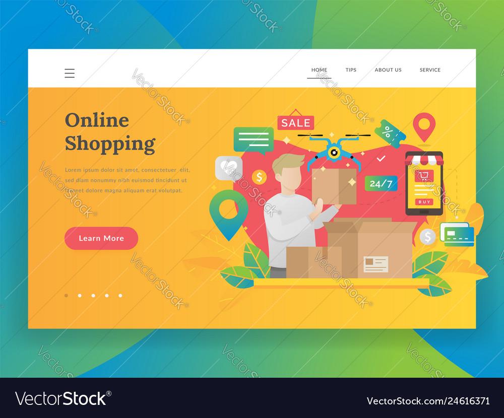 Modern flat design concept of online shopping
