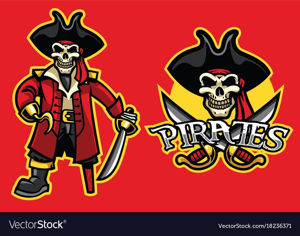 Pirate skull mascot in set