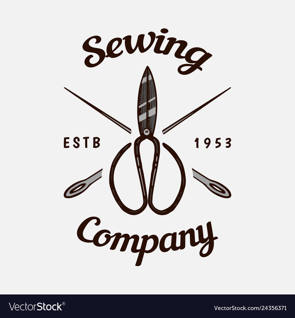Sewing scissors tailor shop badges label tool