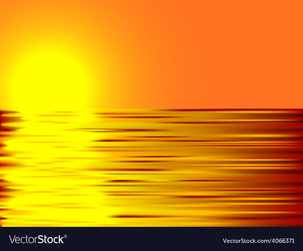 Sunset and water vector image