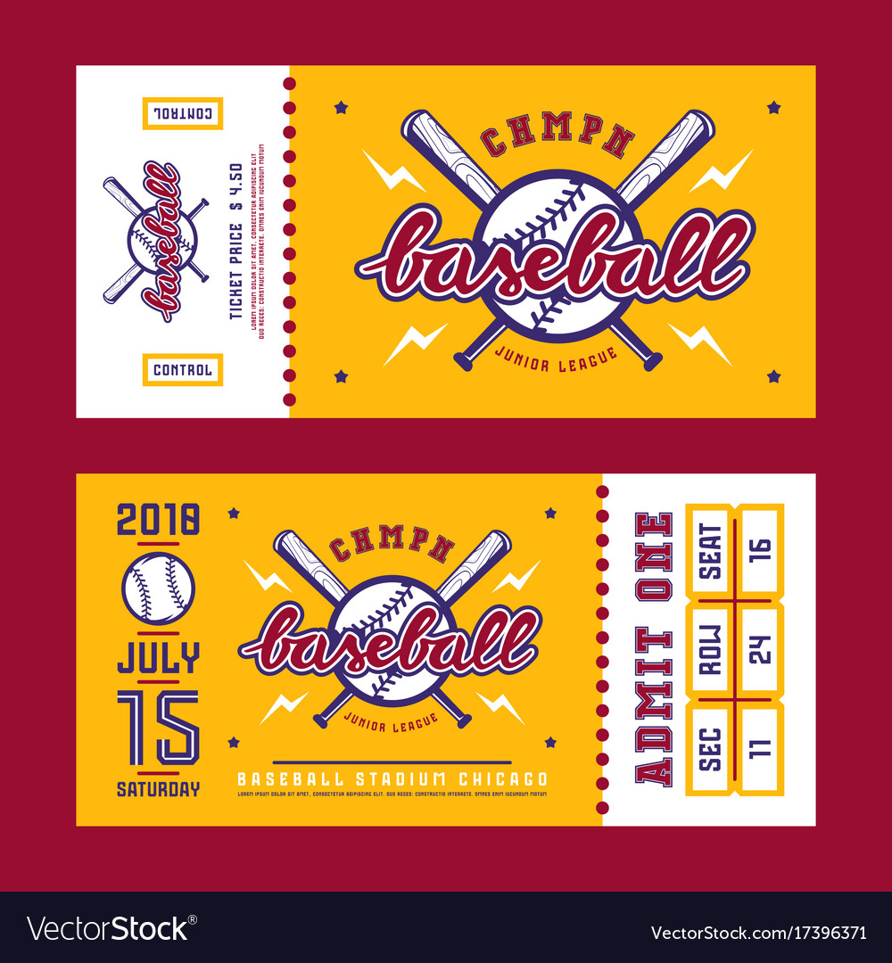 template for baseball ticket royalty free vector image