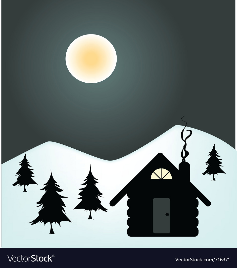 Winter night in cabin