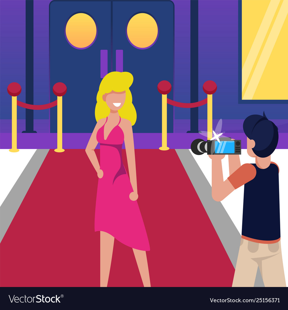 Woman On Red Carpet Photo Celebrity Cartoon Vector Image