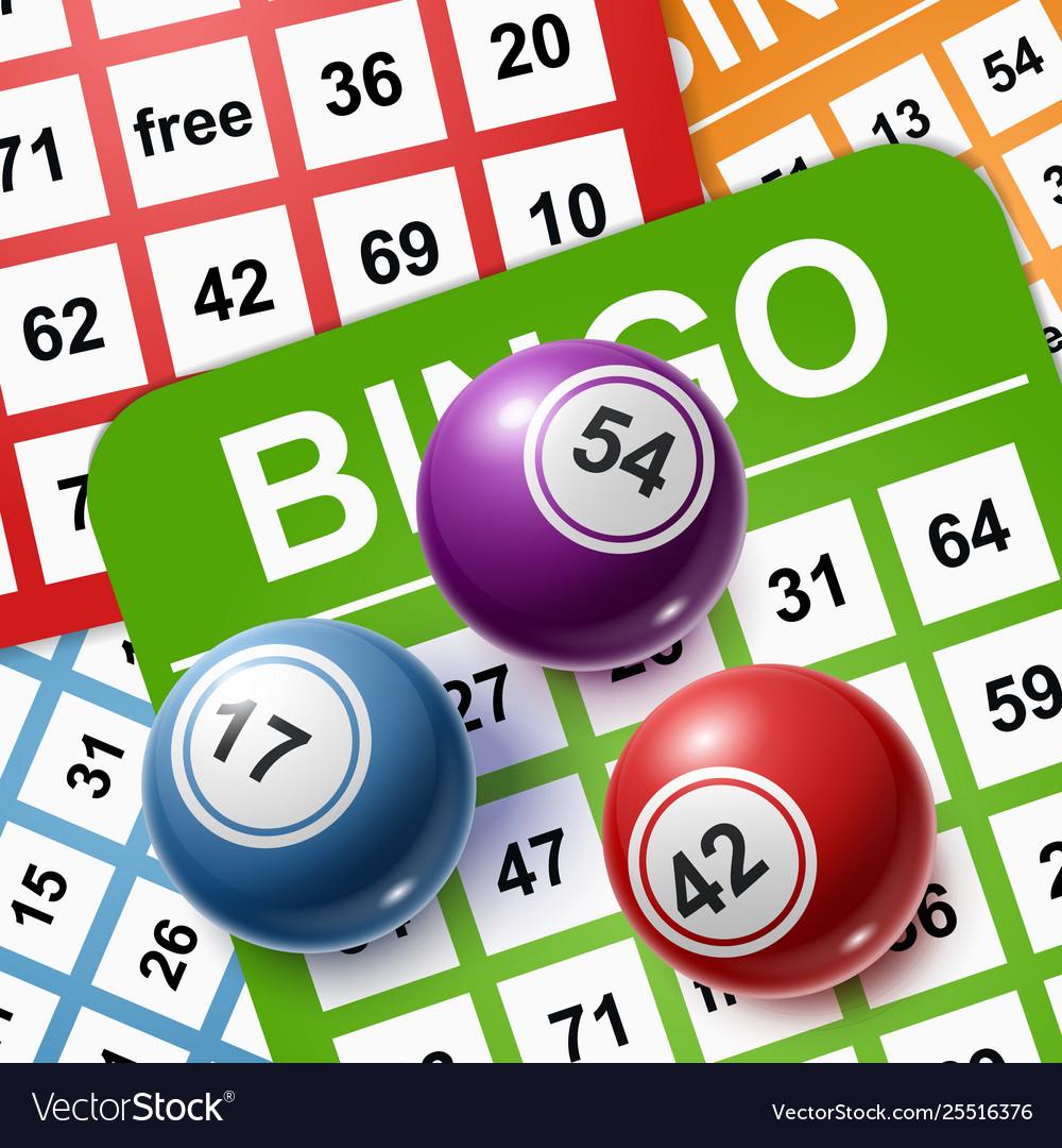 Bingo balls on a background cards