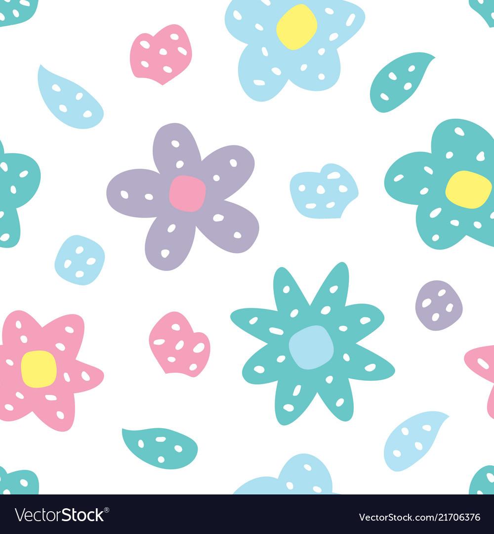 Childish seamless pattern with flowers creative