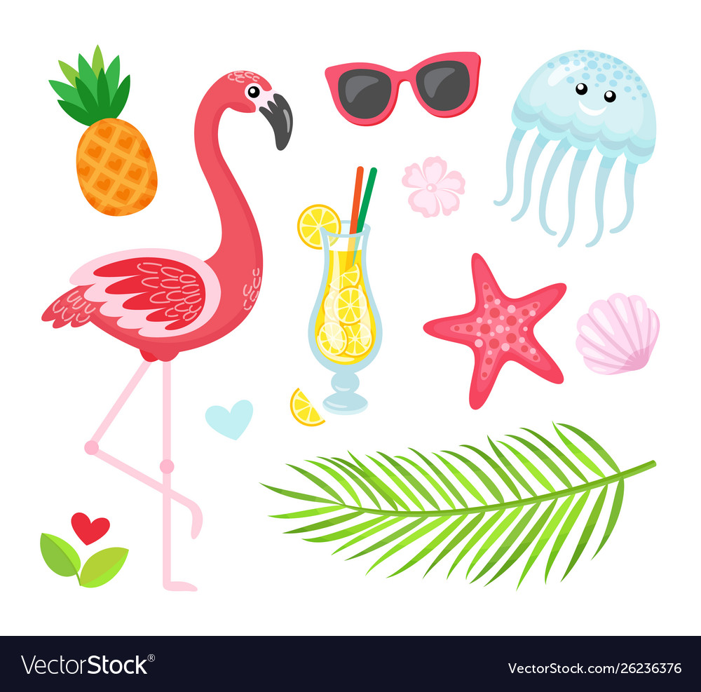 Flamingo cocktail pineapple summer icons