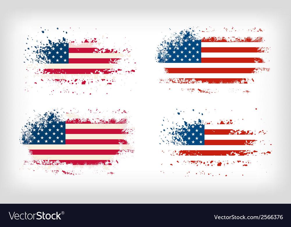 Grunge american ink splattered flag