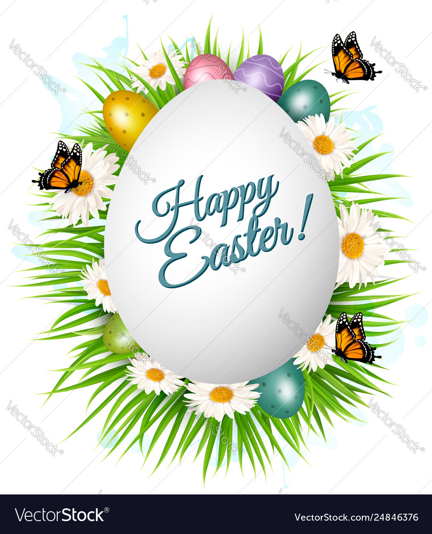 Holiday gift card with easter eggs and spring