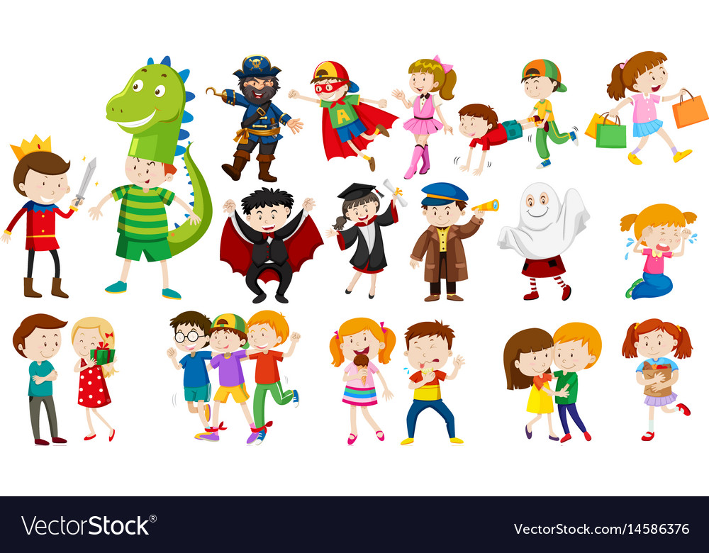 Many kids in different costumes