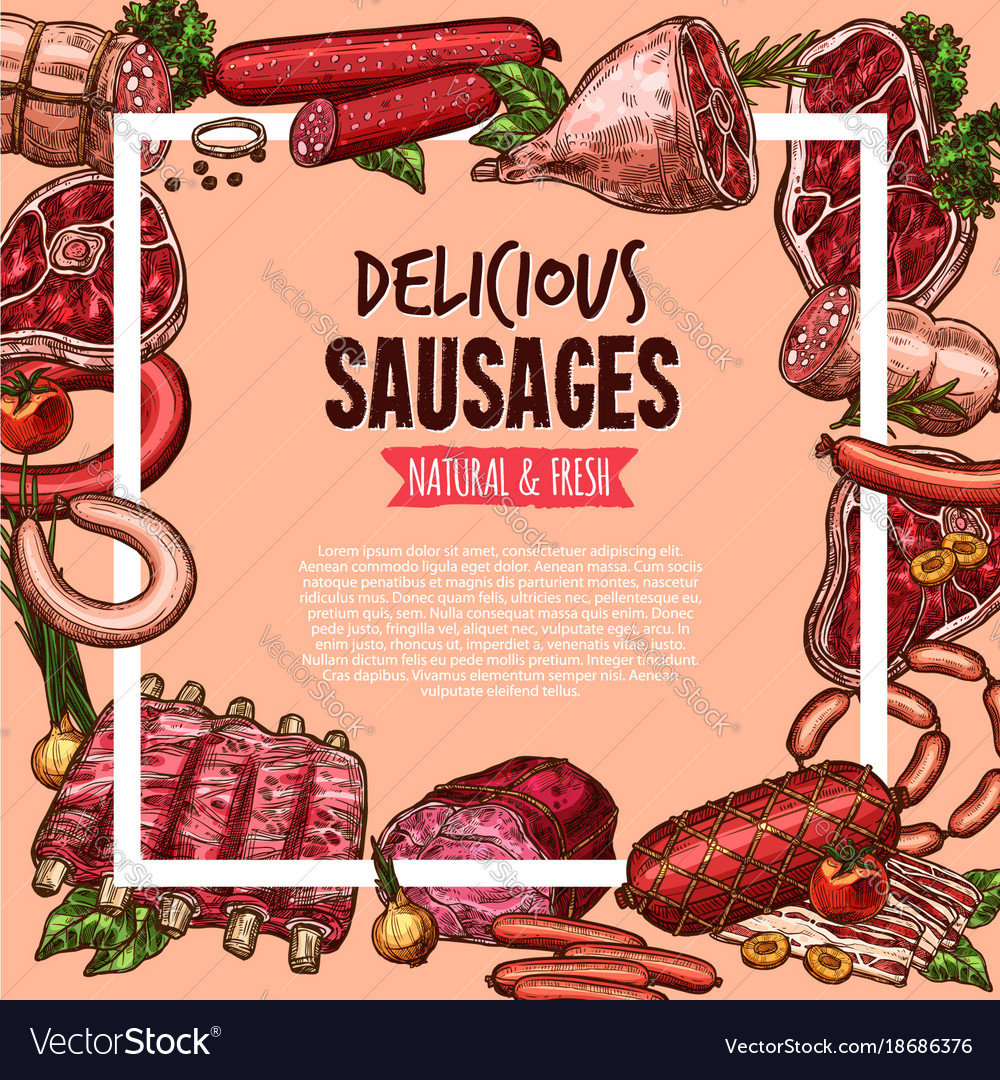 Meat beef and pork sausage poster food design vector image