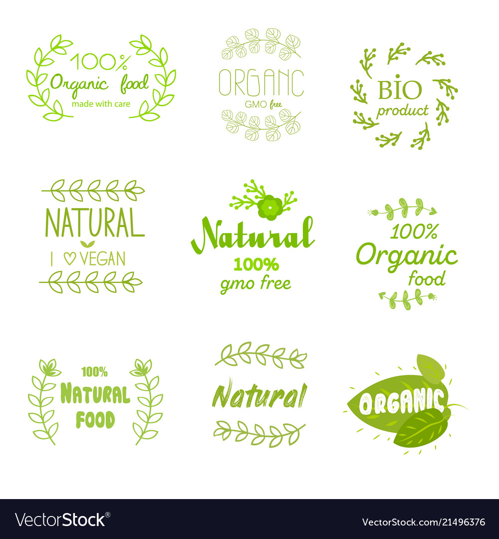 Natural fresh product stickers and labels food