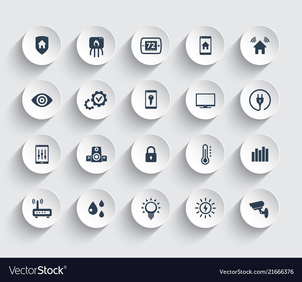 Smart house automation system icons set