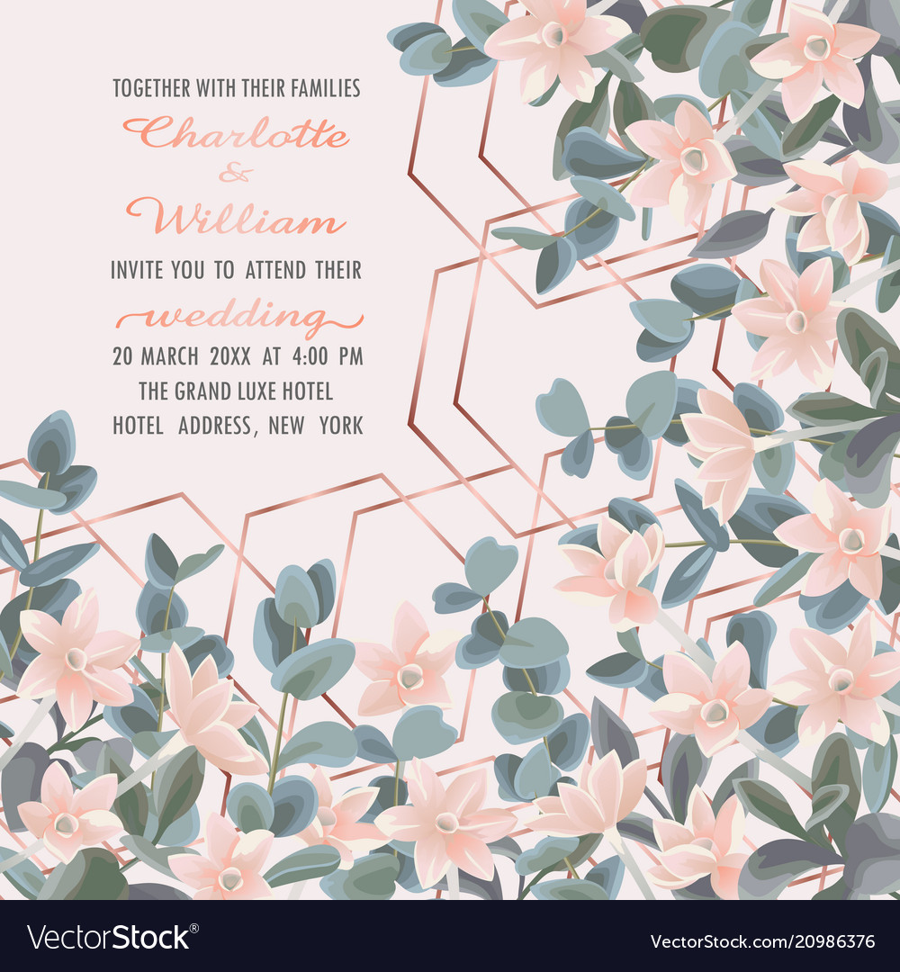 Wedding invitation with eucalyptus and flowers