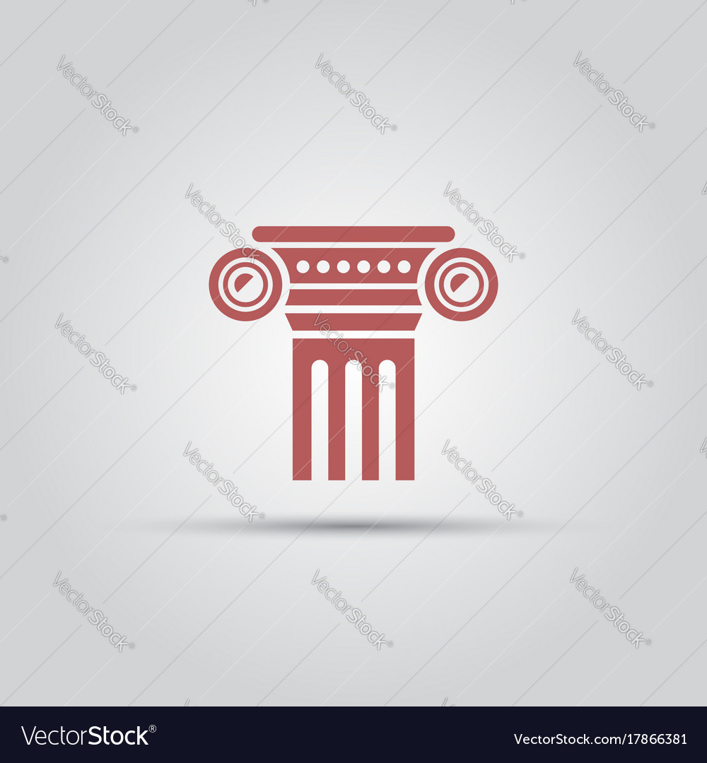 Antique columns isolated colored icon