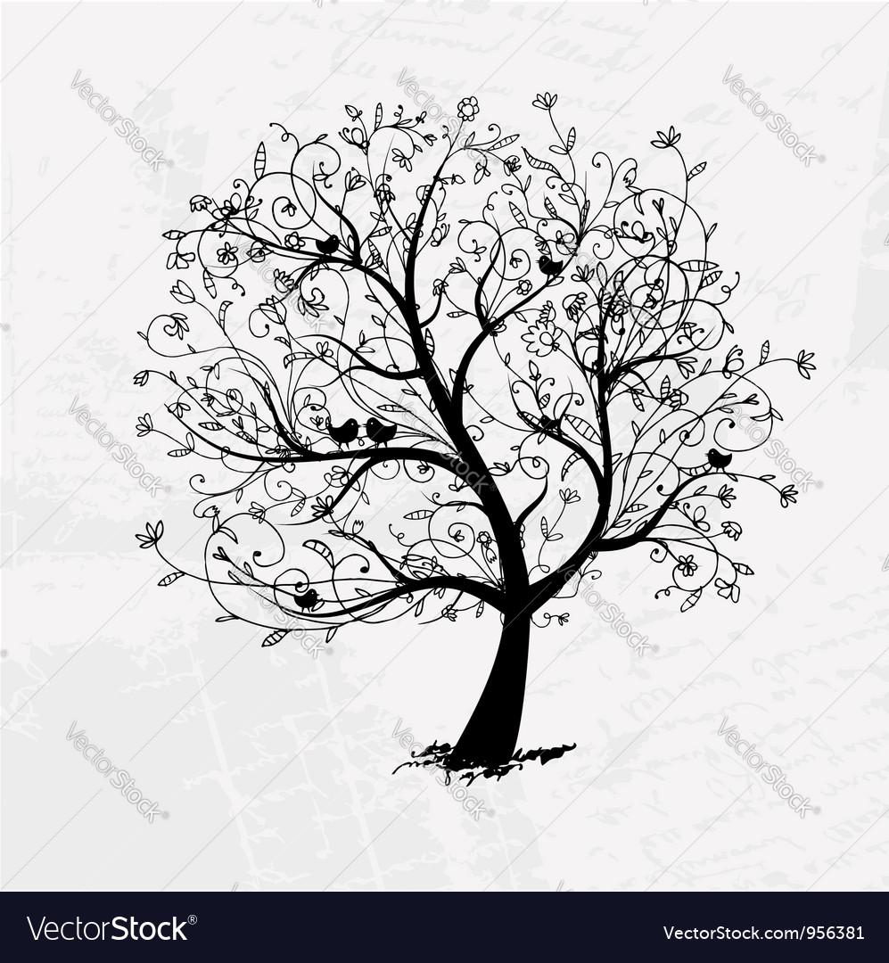 Art tree beautiful black silhouette