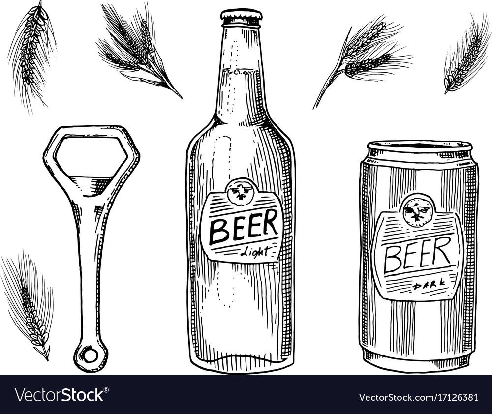 Beer glass mug or bottle of oktoberfest wheat or