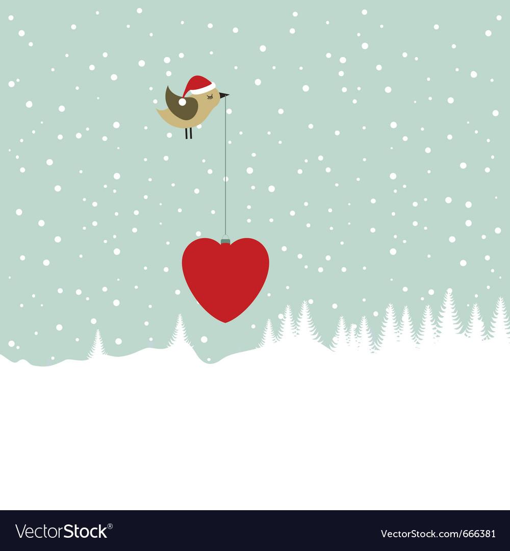 Christmas Heart Vector.Bird Bearing Christmas Heart