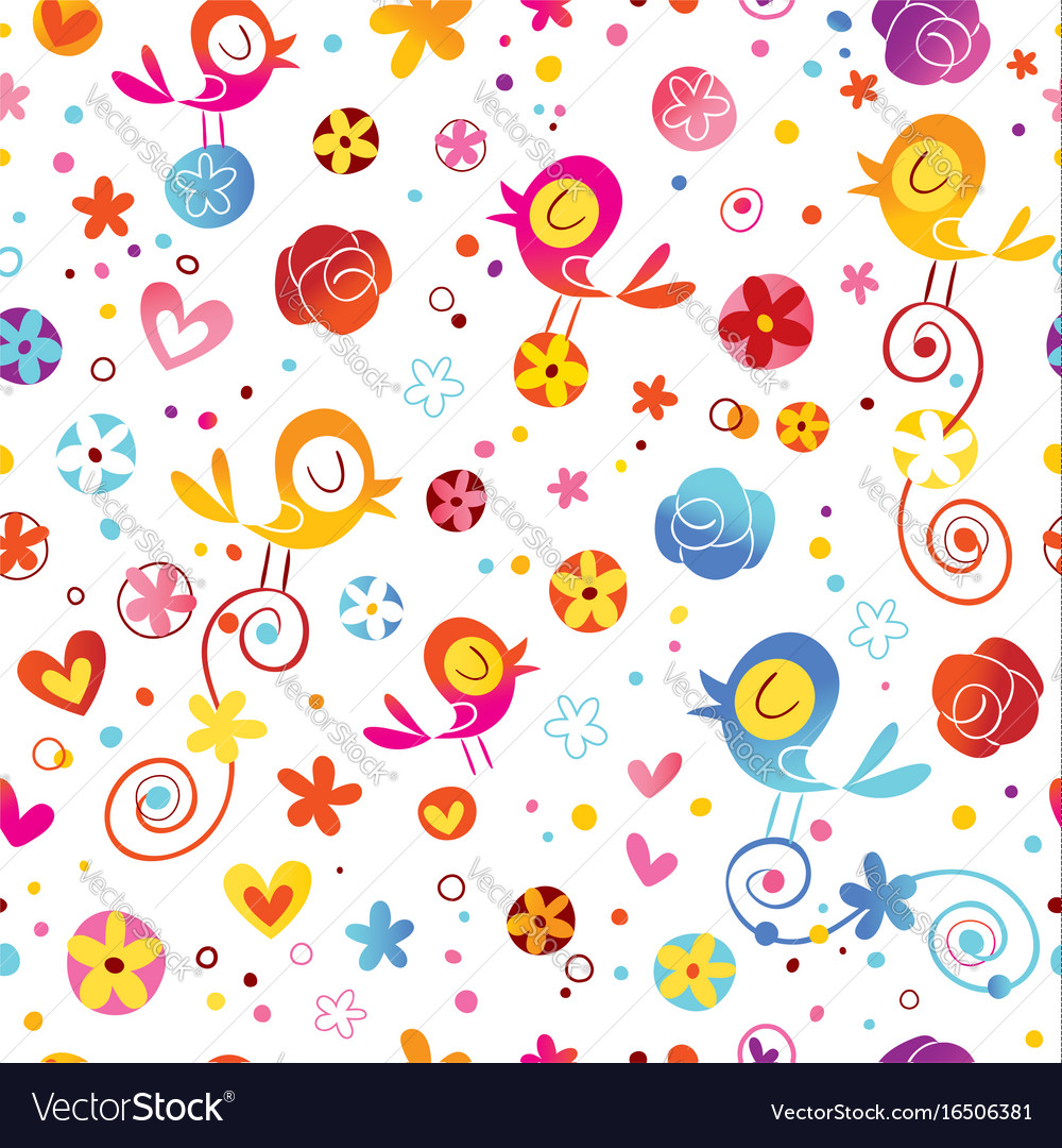 Birds and flowers nature seamless pattern vector image