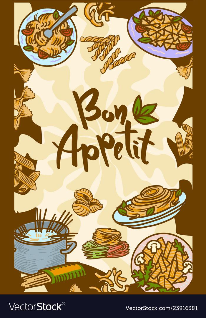 Bon Appetit Italian Pasta Concept Banner Hand Vector Image